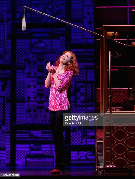 Esther Hannaford performs the role of Carole King during rehearsal for Beautiful The Carole King Musical at Lyric Theatre Star City on September 21...