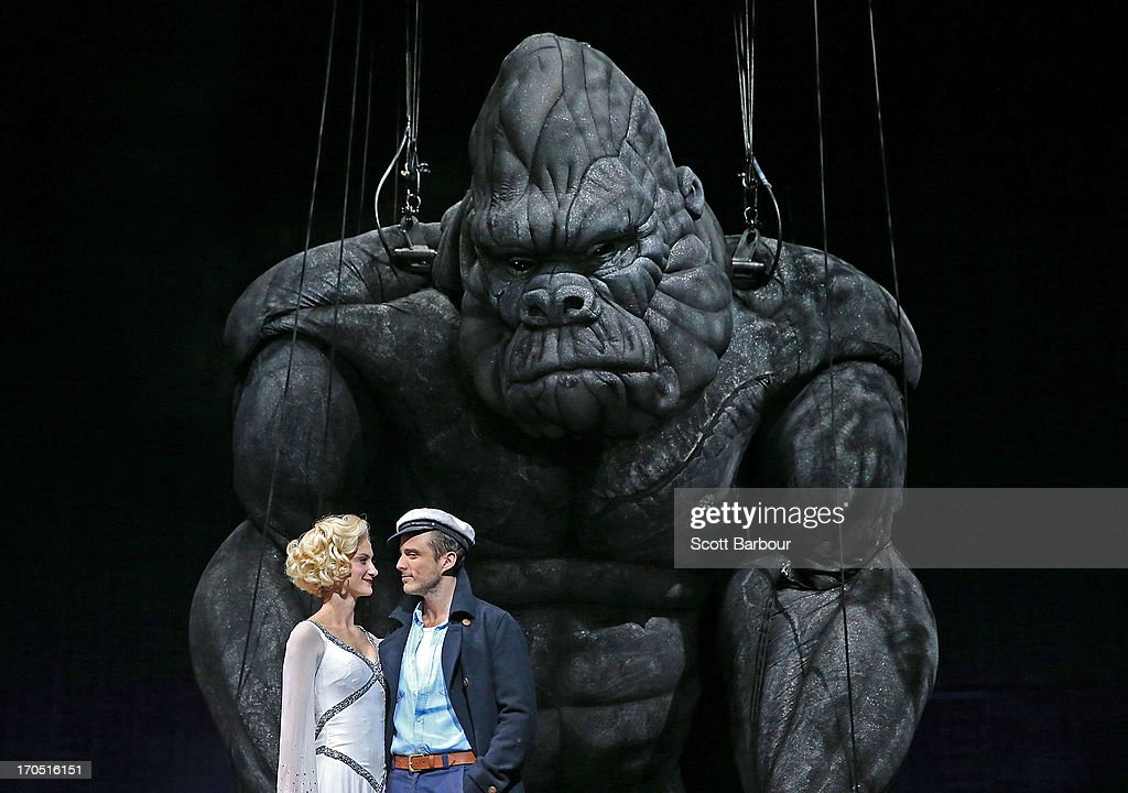 Esther Hannaford who plays Ann Darrow and Chris Ryan who plays Jack Driscoll pose with King Kong on stage during a 'King Kong' production media call at the Regent Theatre on June 14, 2013 in Melbourne, Australia. Based on the novel of the original 1933 screenplay and five years in the making, the new music theatre event King Kong will have its world premiere on June 15th.