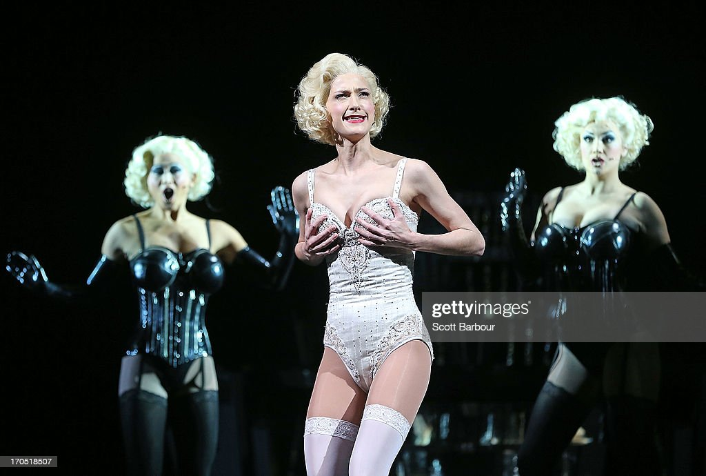 Esther Hannaford (C) who plays Ann Darrow performs on stage during a 'King Kong' production media call at the Regent Theatre on June 14, 2013 in Melbourne, Australia. Based on the novel of the original 1933 screenplay and five years in the making, the new music theatre event King Kong will have its world premiere on June 15th.