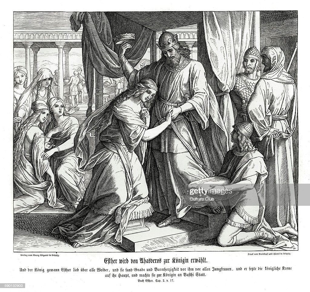 Esther is made queen, Esther chapter II verse 17 'And the king loved Esther above all the women, and she obtained grace and favour in his sight more than all the virgins; so that he set the royal crown upon her head, and made her queen instead of Vashti.' 1852-60 illustration by Julius Schnorr von Carolsfeld