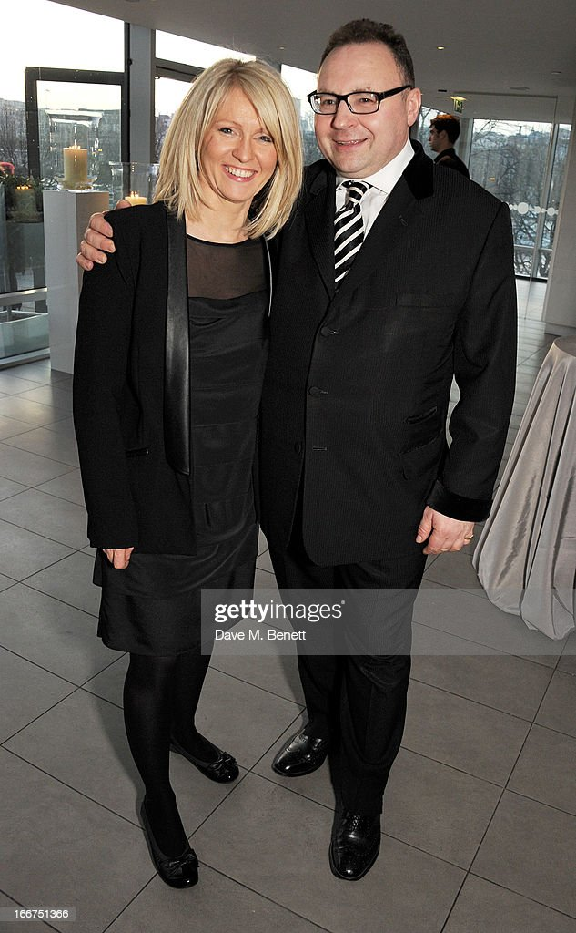 Esther McVey (L) and Jonathan Shalit attend a drink reception celebrating 'An Evening With Chickenshed', a cabaret performance in aid of inclusive theatre company Chickenshed, hosted by Jonathan Shalit at The London Television Centre on April 16, 2013 in London, England.