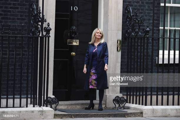 Esther McVey arrives at 10 Downing Street on October 7 2013 in London England Esther McVey will begin in her new role as Parliamentary Under...