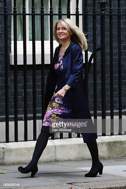 Esther McVey walks into Downing Street on October 7 2013 in London England Esther McVey will begin in her new role as Parliamentary Under Secretary...