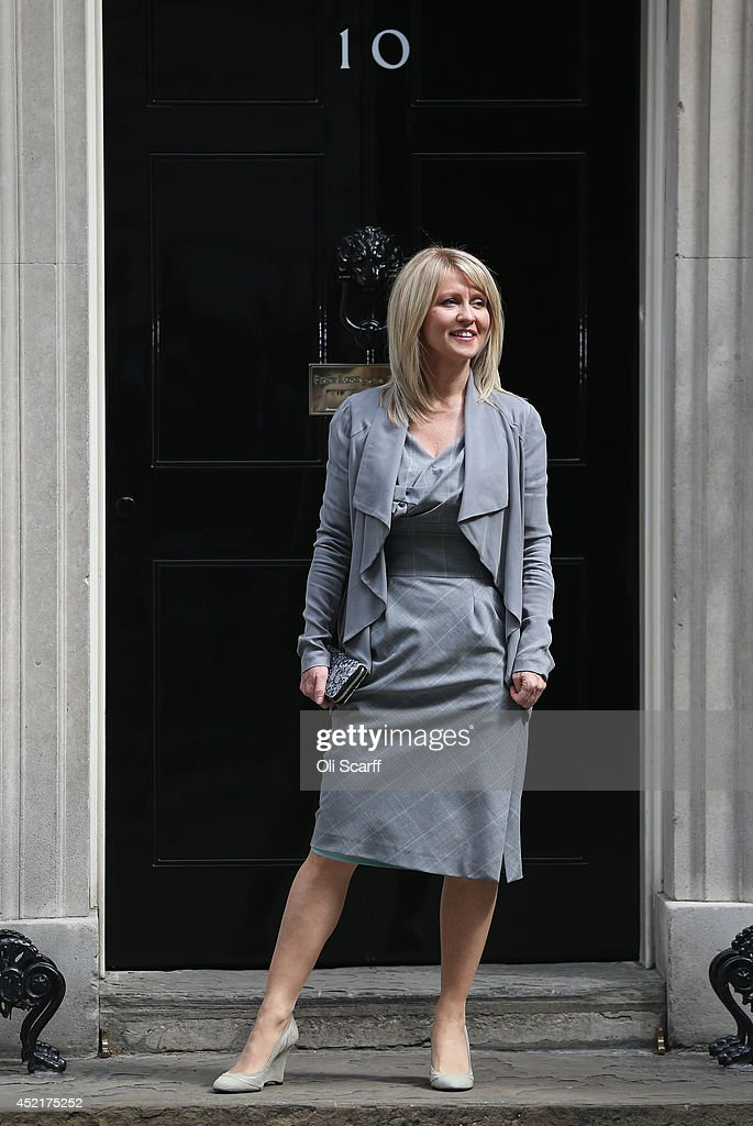 <a gi-track='captionPersonalityLinkClicked' href=/galleries/search?phrase=Esther+McVey&family=editorial&specificpeople=3052067 ng-click='$event.stopPropagation()'>Esther McVey</a>, who will continue in her role as Minister for Employment and Disabilities, arrives at Downing Street on July 15, 2014 in London, England. British Prime Minister David Cameron is conducting a reshuffle of his Cabinet team with a greater number of women expected to be appointed to senior positions.