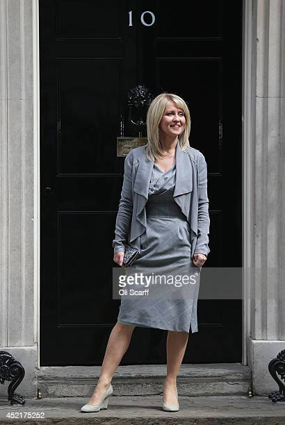 Esther McVey who will continue in her role as Minister for Employment and Disabilities arrives at Downing Street on July 15 2014 in London England...