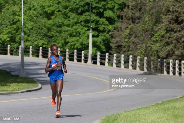 Esther Ndiema of Kenya running to fifth in the Ottawa Marathon road race during the Tamarack Ottawa Race Weekend The Ottawa Marathon is part of the...
