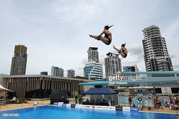 Esther Qin and Samantha Mills of Australia compete in the Women's 3m Synchro Springboard Final during the FINA Diving Grand Prix on November 1 2015...