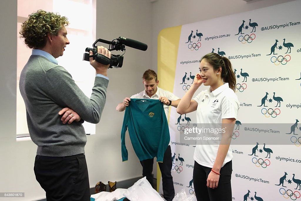 <a gi-track='captionPersonalityLinkClicked' href=/galleries/search?phrase=Esther+Qin&family=editorial&specificpeople=13438597 ng-click='$event.stopPropagation()'>Esther Qin</a> is interviewed during the Australian Olympic Games diving team announcement at the Museum of Contemporary Art on June 29, 2016 in Sydney, Australia.