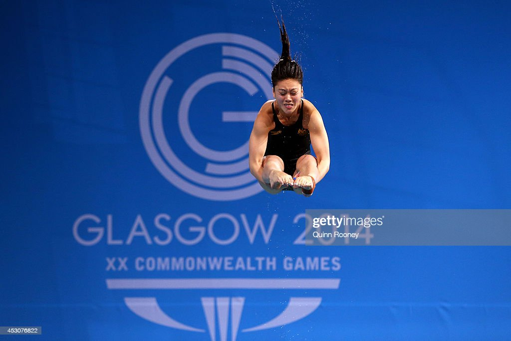 <a gi-track='captionPersonalityLinkClicked' href=/galleries/search?phrase=Esther+Qin&family=editorial&specificpeople=13438597 ng-click='$event.stopPropagation()'>Esther Qin</a> of Australia competes in the Women's 3m Springboard at Royal Commonwealth Pool during day ten of the Glasgow 2014 Commonwealth Games on August 2, 2014 in Edinburgh, United Kingdom.