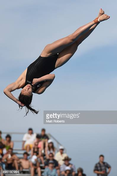 Esther Qin of Australia competes in the Women's 3m Springboard Final during the FINA Diving Grand Prix on November 1 2015 on the Gold Coast Australia