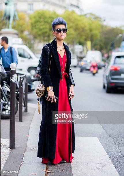 Esther Quek at Miu Miu during the Paris Fashion Week Womenswear Spring/Summer 2016 on Oktober 7 2015 in Paris France
