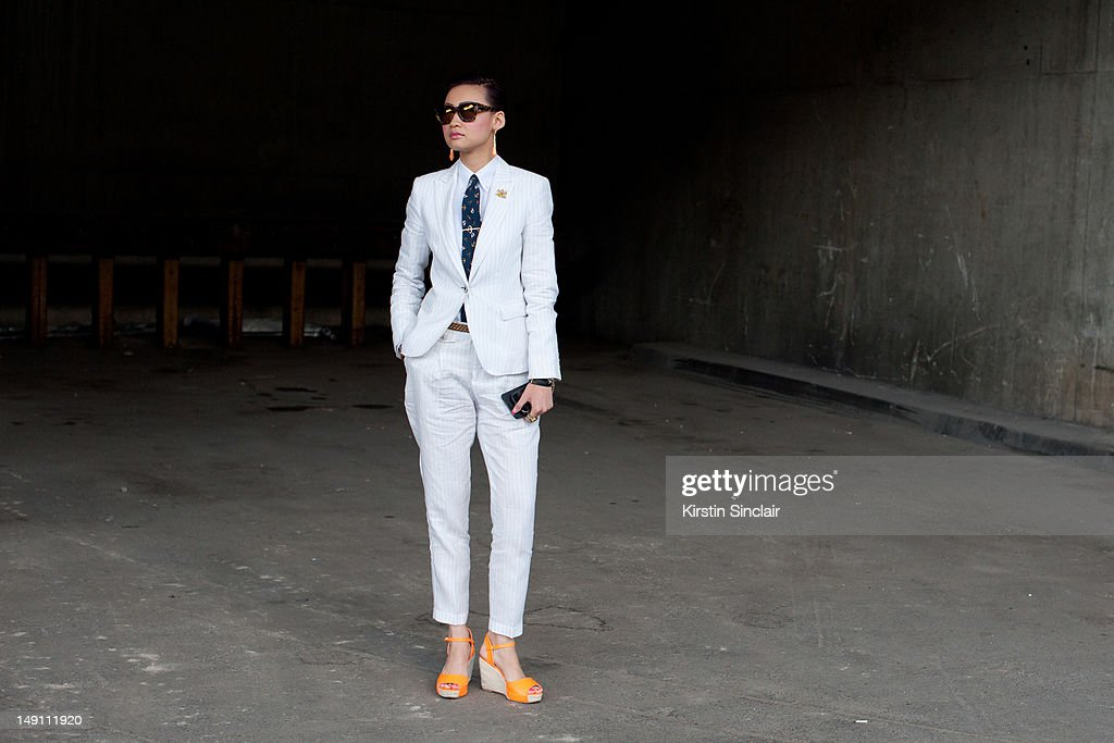 Esther Quek fashion director at The Rake Magazine at Paris Fashion Week Spring/Summer 2013 menswear shows on July 01, 2012 in Paris, France..