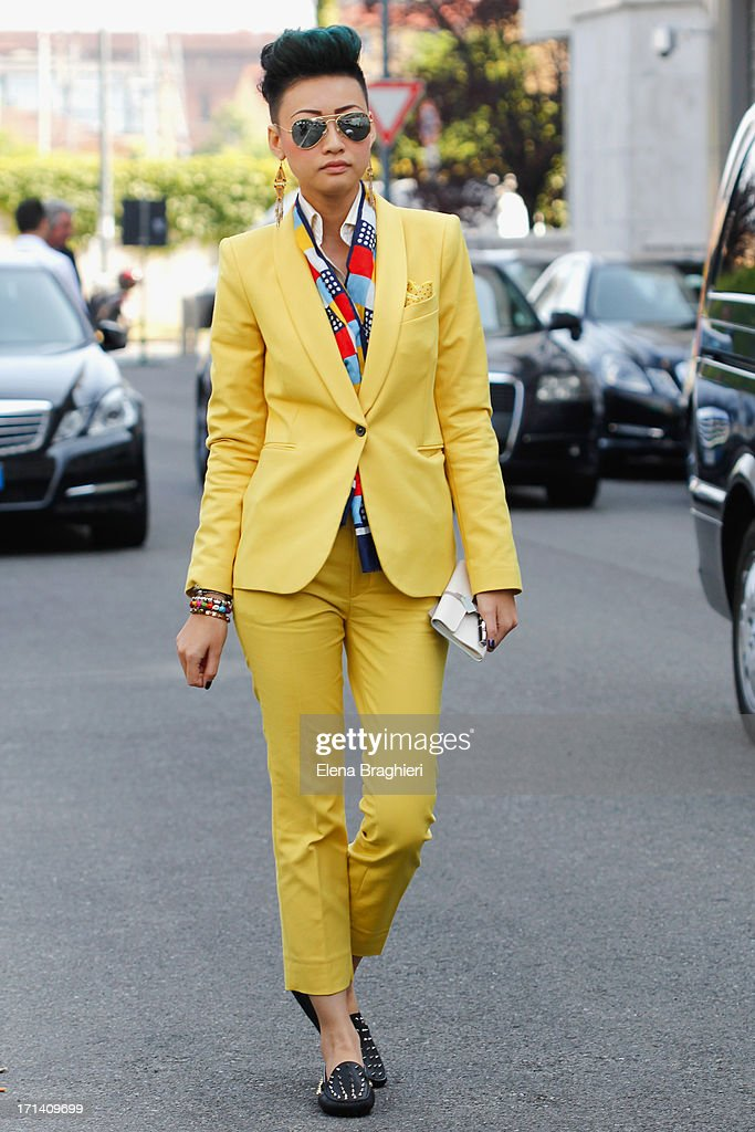 Esther Quek is seen at Milan Fashion Week Menswear Spring/Summer 2014 on June 23, 2013 in Milan, Italy