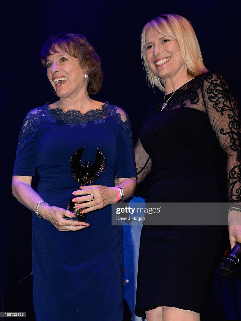 <a gi-track='captionPersonalityLinkClicked' href=/galleries/search?phrase=Esther+Rantzen&family=editorial&specificpeople=158746 ng-click='$event.stopPropagation()'>Esther Rantzen</a> and Molly Bedingfield onstage during The Global Angel Awards at the Roundhouse on November 15, 2013 in London, England.