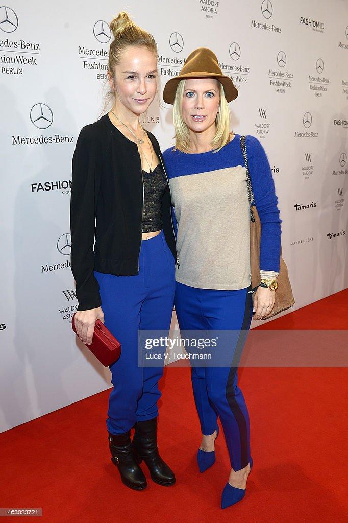 Esther Seibt and Tamara Graefin von Nayhauss attend the Laurel show during Mercedes-Benz Fashion Week Autumn/Winter 2014/15 at Brandenburg Gate on January 16, 2014 in Berlin, Germany.