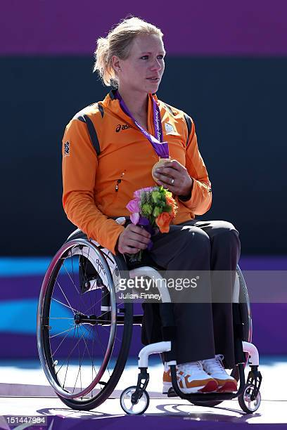 Esther Vergeer of Netherlands with her gold medal after defeating Aniek Van Koot of Netherlands in the final of the Women's singles match in the...