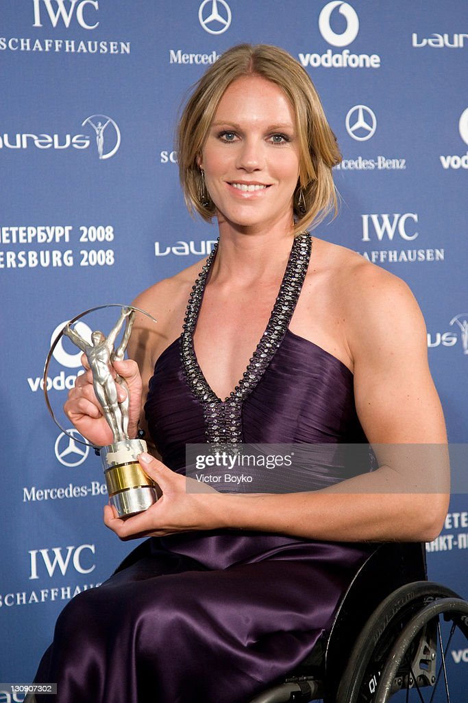 <a gi-track='captionPersonalityLinkClicked' href=/galleries/search?phrase=Esther+Vergeer&family=editorial&specificpeople=622149 ng-click='$event.stopPropagation()'>Esther Vergeer</a> with the trophy after winning the Laureus World Sportsperson of the Year with a Disability at the Laureus World Sports Awards at the Mariinsky Concert Hall on February 18, 2008 in St.Petersburg, Russia.