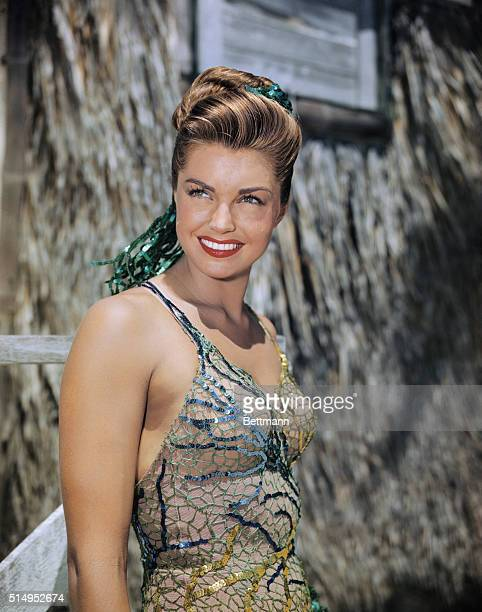 Esther Williams movie actress at Biscayne Key south of Miami Fla while on location