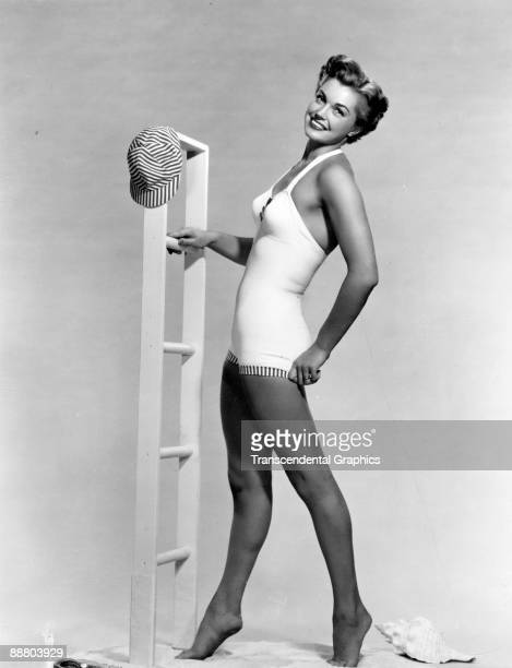 Esther Williams swimming star poses for a publicity shot in Hollywood around 1950