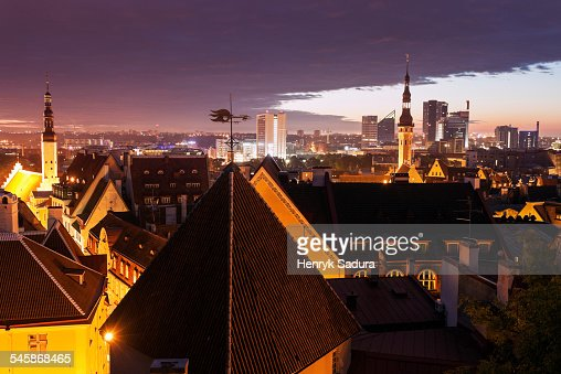 Estonia, Tallinn, City at sunrise
