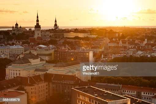 Estonia, Tallinn, Cityview at sunset
