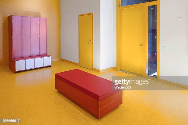 Estonia,corridor with lockers and bench in a newly built kindergarten
