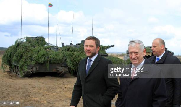 Estonian Defense Minister Margus Tsahkna US Defense Secretary James Mattis and Latvian Defense Minister Raimonds Bergmanis are seen after they met...