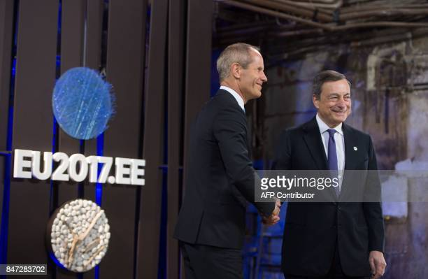 Estonian Finance Minister Toomas Toniste welcomes European Central Bank President Mario Draghi for an Informal meeting of economic and financial...