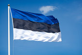 The flag of Estonia waving in the wind.