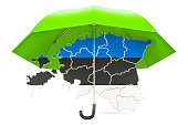 Estonian map under umbrella. Security and protect or insurance concept, 3D rendering