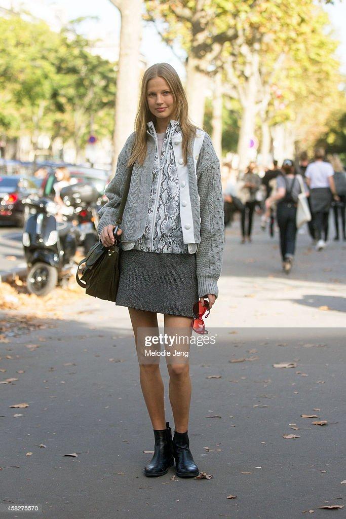 Estonian model Elisabeth Erm exits the Isabel Marant show at Palais de Tokyo musem on Day 4 of Paris Fashion Week Spring/Summer 2015 on September 26...