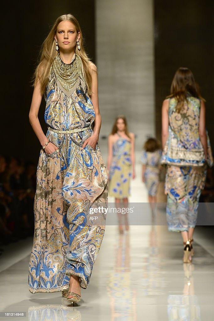 Estonian model Elisabeth Erm presents a creation for fashion house Etro as part of the spring/summer 2014 ready-to-wear collections during the fashion week in Milan on September 20, 2013.