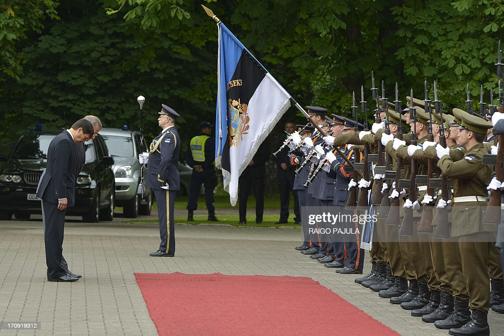Estonian President Toomas Hendrik Ilves (2nd L) and his Hungarian counterpart Janos Ader (L) review an honor guard during their meeting in Tallinn on June 20, 2013.