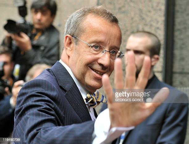 Estonian President Toomas Hendrik Ilves arrives for the EU summit on July 21 2010 at the European Council headquarters in BrusselsEurozone leaders...