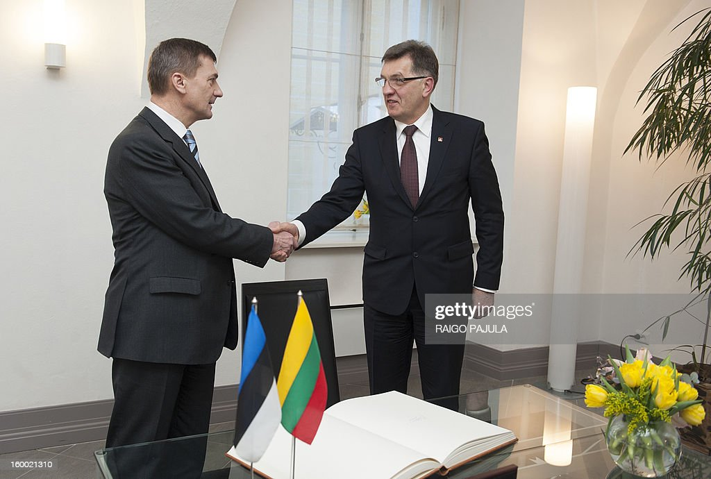 Estonian Prime Minister Andrus Ansip (L) and his Lithuanian counterpart Algirdas Butkevicius (R) shake hands before a joint press conference following their meeting in Tallinn on January 24, 2013.