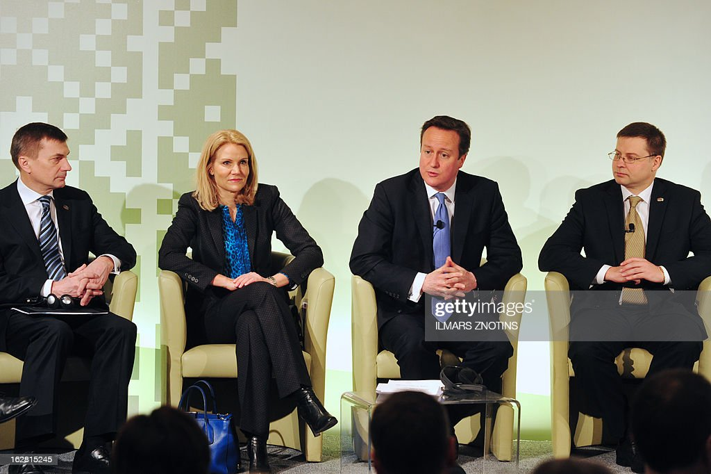 Estonian Prime minister Andrus Ansip, Danish Prime minister Helle Thorning- Schmidt, British Prime minister David Cameron, Latvian Prime Minister Valdis Dombrovskis, attend the Northern Future Forum in Riga on February 28, 2013.