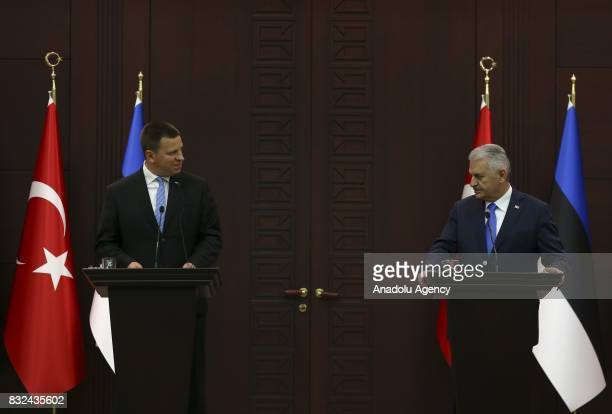 Estonian Prime Minister Juri Ratas and Turkish Prime Minister Binali Yildirim hold a joint press conference after their meeting at Cankaya Palace in...