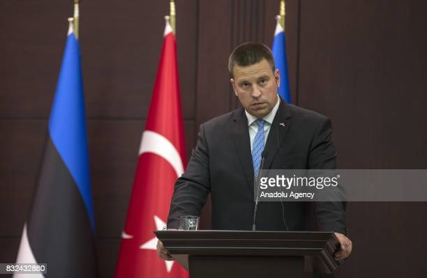 Estonian Prime Minister Juri Ratas holds a joint press conference with Turkish Prime Minister Binali Yildirim after their meeting at Cankaya Palace...