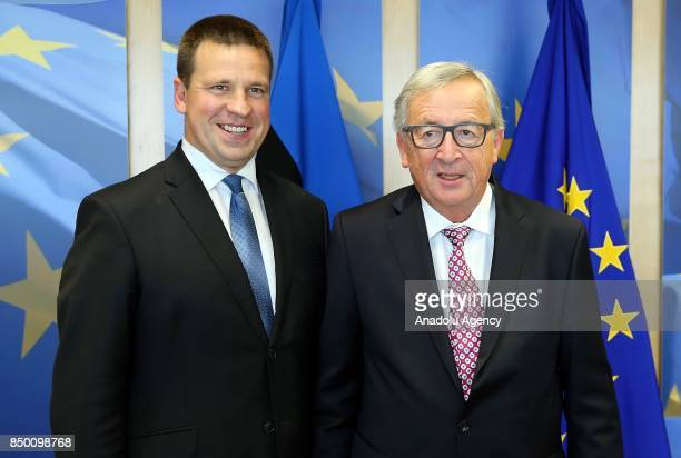 Estonian Prime Minister Juri Ratas meets with European Commission President JeanClaude Juncker in Brussels Belgium on September 20 2017
