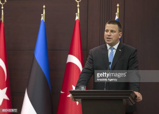 Estonian Prime Minister Juri Ratas speaks during a joint press conference with Turkish Prime Minister Binali Yildirim after their meeting at Cankaya...