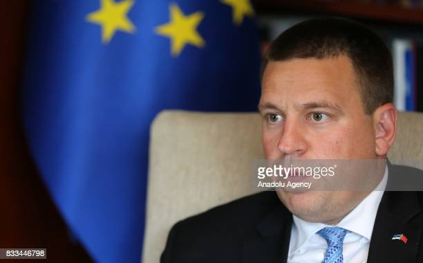 Estonian Prime Minister Juri Ratas speaks during an exclusive interview at Estonian Embassy in Ankara Turkey on August 16 2017