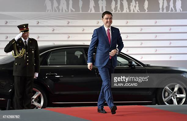 Estonian Prime minister Taavi Roivas arrives at the House of the Blackhead for an informal dinner at the start of the fourth European Union eastern...