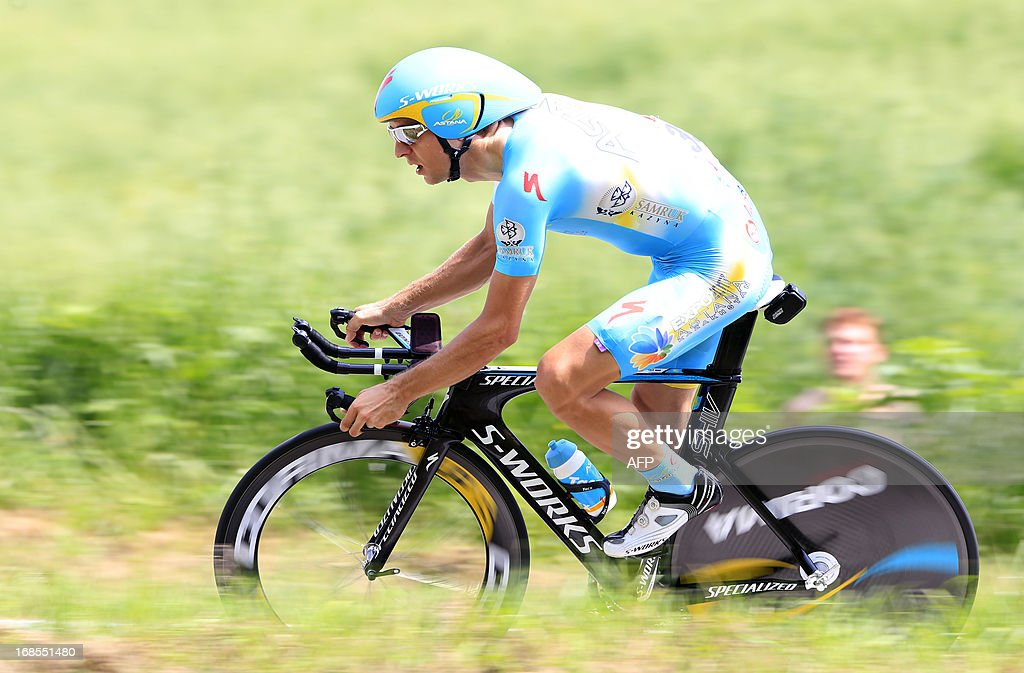 Estonian rider Tanel Kangert rides during the 55,5kms eigth stage of the 96th Giro d'Italia time trial from Gabicce Mare to Saltara on May 11, 2013 in Saltara, Italy.Briton Alex Dowsett took the honours ahead of compatriot Bradley Wiggins in the Tour of Italy's eighth stage time trial on Saturday with Italian Vincenzo Nibali inheriting the leader's pink jersey.