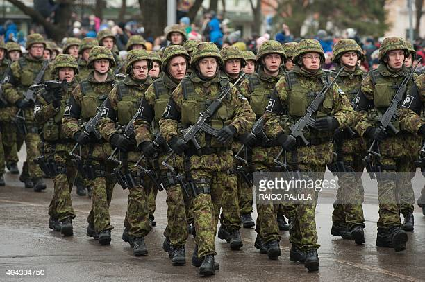Estonian soldiers take part in a military parade to celebrate 97 years since first achieving independence in 1918 on February 24 2015 in Narva...