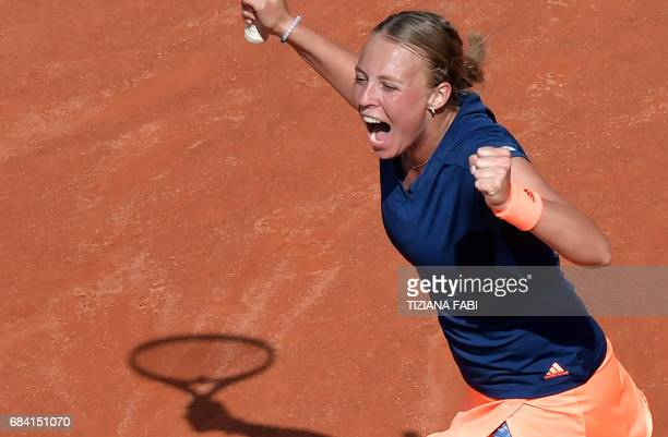 Estonia's Anett Kontaveit celebrates after winning the match against Angelique Kerber of Germany during the WTA Tennis Open tournament at the Foro...