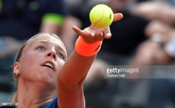 Estonia's Anett Kontaveit serves against Angelique Kerber of Germany during the WTA Tennis Open tournament at the Foro Italico on May 17 2017 in Rome...