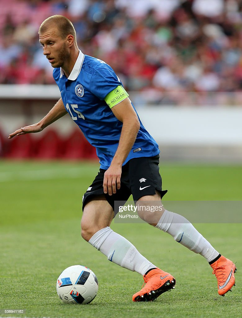 Estonia's defender Ragnar Klavan in action during international friendly match between Portugal and Estonia in preparation for the Euro 2016 at...
