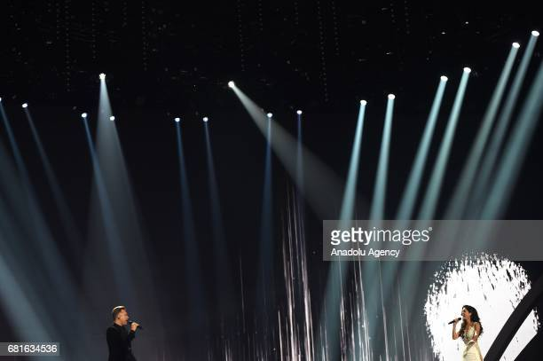 Estonia's Koit Toome and Laura perform the song 'Verona' during the second semifinal dress rehearsal of Eurovision Song Contest 2017 at the...
