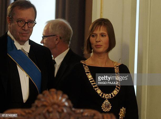 Estonia's President Kersti Kaljulaid and former Estonia's President Toomas Hendrik Ilves are seen during her inauguration ceremony in Riigikogu...