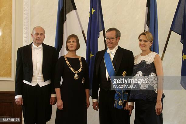 Estonia's President Kersti Kaljulaid her husband GeorgiRene Maksimovski former Estonia's President Toomas Hendrik Ilves and his spouse Ieva Ilves are...
